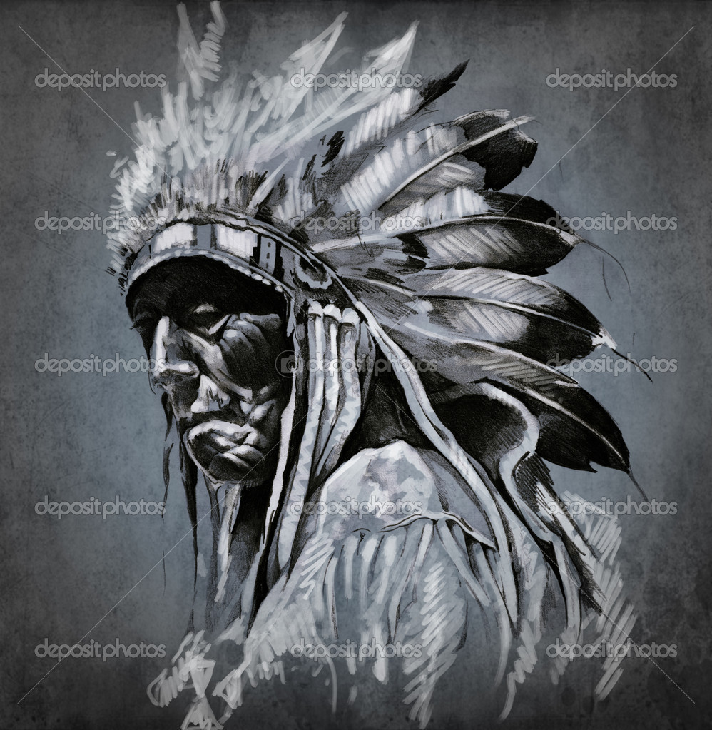 Tattoo art, portrait of american indian head over dark background — Stock Photo #9942621