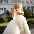 Young bride whispers to friend — Stock Photo #10039551