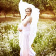 Beautiful pregnant woman in a field of dandelions -  