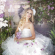 Stock Photo: Beautiful bride in a lavender garden