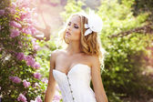 Beautiful bride in a lavender garden — Stock Photo