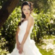 Beautiful bride posing in her wedding day - Stock Photo