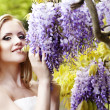 Stock Photo: The image of a beautiful bride in a blossoming garden