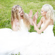 Young bride whispers to friend — Stock Photo #8695740