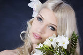 Bride in a black background — Stock Photo
