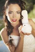 Pretty girl holding a white dove — Стоковое фото