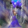 Beautiful woman holding bunch of violet air balloons — Stock Photo #8709390
