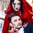 Foto de Stock  : Red Riding Hood in the woods with a man-wolf