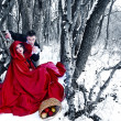 Red Riding Hood in the woods with a man-wolf — Stock Photo #9081884