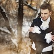 Fabulous werewolf guy in the woods — Stock Photo