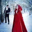 Red Riding Hood in the woods with a man-wolf - Stok fotoğraf