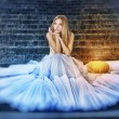 Stock Photo: Cinderella in a white dress
