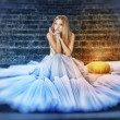 Stock Photo: Cinderellin white dress