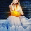 Cinderella in a white dress — Stock Photo