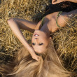 Royalty-Free Stock Photo: The beautiful girl lies on a haystack