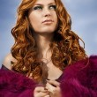 Royalty-Free Stock Photo: Portrait of a beautiful woman in the fur coat