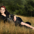 Young brunette lady posing in dress — Stock Photo #9596078