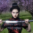 Artistic portrait of japan geisha woman with creative make-up near sakura tree in kimono - Стоковая фотография