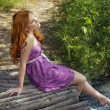 Portrait of romantic girl at Forest River - Foto de Stock