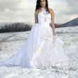 Pretty young woman posing in wedding dress with train, on winter snow — Stock Photo #9597562