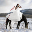 Bride with horse in snow — Stock Photo