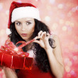 Beautiful girl with gifts for Christmas — Stock Photo
