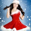 Portrait of beautiful happy girl wearing Santa Claus clothes  — Stok fotoğraf