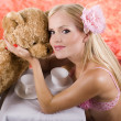 Girl with bear — Stock Photo