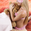 Girl with bear — Stock Photo #9599451