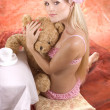 Girl with bear — Stock Photo #9599459