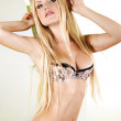 Portrait of young beautiful woman with long blond hair — Stock Photo #9599672