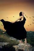 Fine art photos of glamor woman in black dress — Стоковое фото