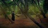 Beautiful gothic girl at the forest — Stock Photo