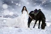 Novia del caballo en la nieve — Foto de Stock