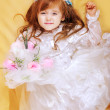 Beautiful little girl in dress with long hair — Stock Photo #9600008