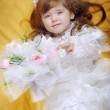 Beautiful little girl in dress with long hair — Stock Photo #9600017
