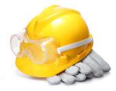 Gele bouw helm — Stockfoto
