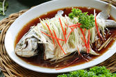 Chinese style Steamed Fish dish — Stockfoto
