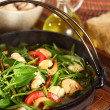 Hot plate seafood water spinach — Stock Photo