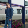 Young boy on mobile phone — Stock fotografie