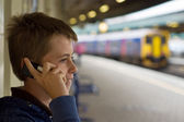 Talking at the station — Stock Photo