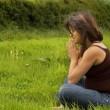 Schwangere Frau beten — Stockfoto