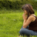 donna incinta pregando — Foto Stock