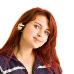 Redhead with headphones — Stock Photo #8670992