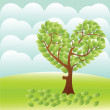 Heart tree on the field — Stock Vector