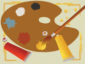 与管和画笔绘画调色板 — 图库矢量图片