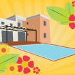 Stock Vector: Holliday house with swimming pool and floral design
