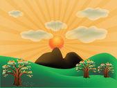 Autumn mountain landscape — Stock Vector