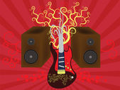 Guitar and Speakers — Vector de stock