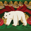 Christmas design with polar bear — Stock Vector